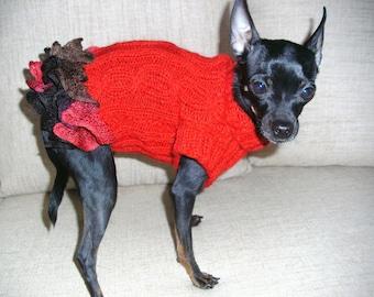 Carmen style dog dress-Red Dog Clothing-Small-Dog Costume-Dog Fashion -Knitted Dog Dress Size S