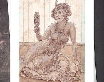 The Lady Unicorn - Art Nouveau Fantasy Art - 8x10 Print - Free shipping