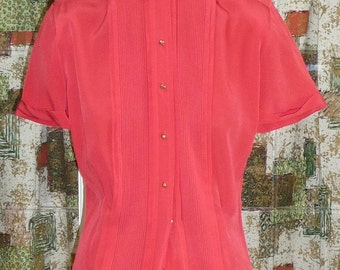 1950s Red Rayon Blouse #4.