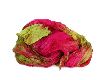 pink scarf -  Margarita -  hot pink, chartreuse, yellow, brown silk scarf.