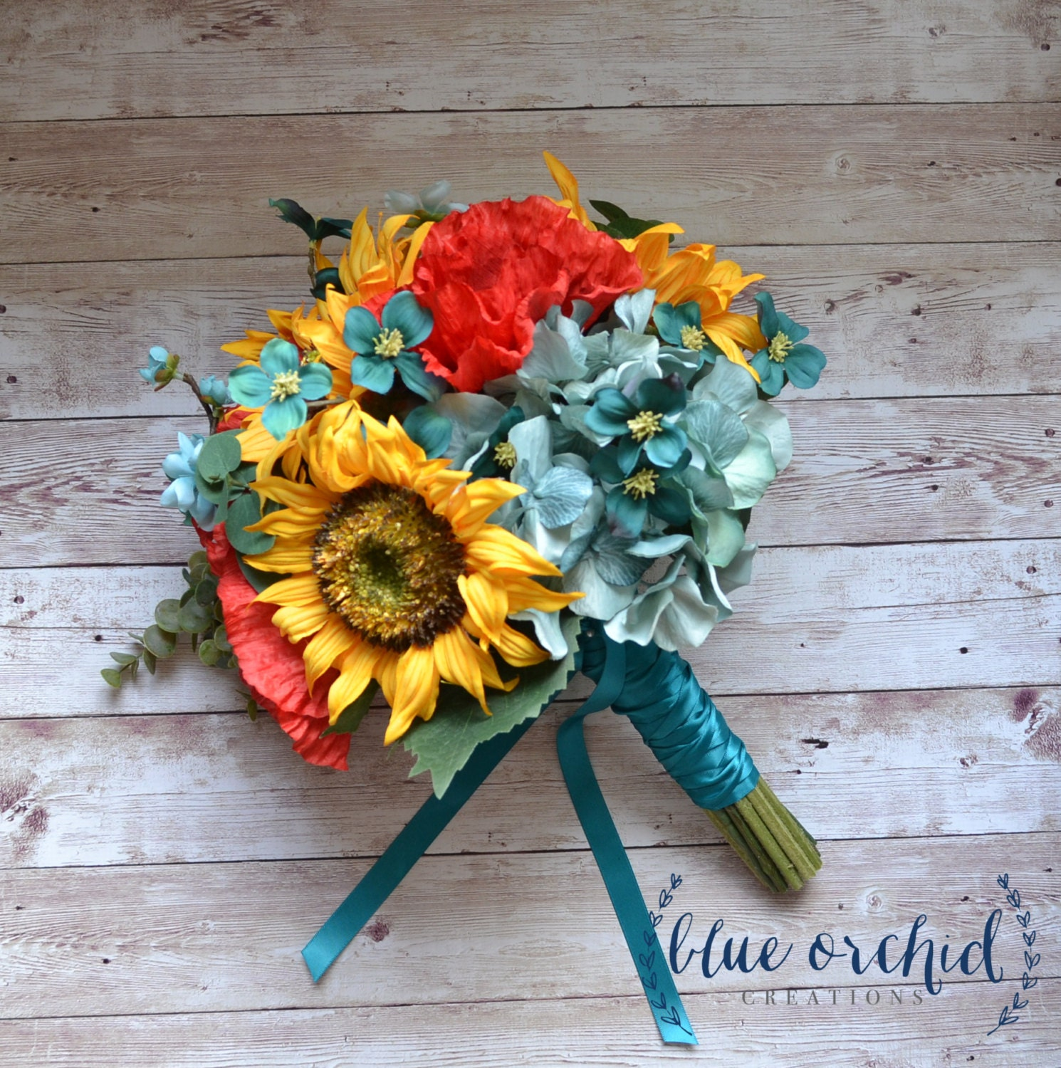 Sunflower bridal bouquet with red poppies teal turquoise zoom dhlflorist Gallery