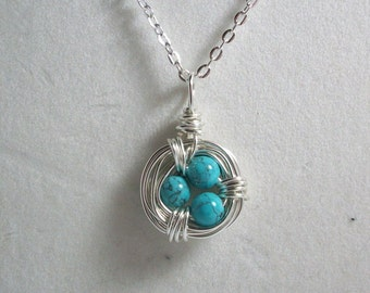 Mini Torqoiuse Bird Nest Necklace