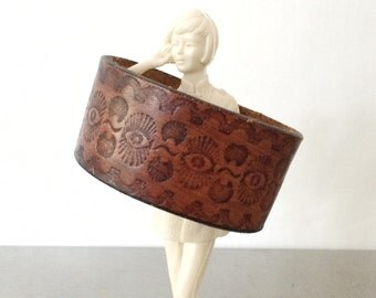 Leather Cuff Bracelet - Brown Boho Jewelry - Size Medium