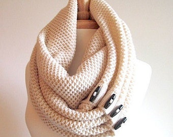 Cream Infinity Scarf Black Buttons Neck Warmer Scarves Women Girls Fall Winter Accessories