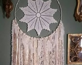 Vintage Doily Large Bohemian Dreamcatcher, Cream and Gold Wall Hanging, Shabby Chic Dreamcatcher, Boho Chic