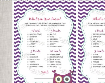 Whats In Your Purse Purple Owl Baby Shower Game -  INSTANT DOWNLOAD