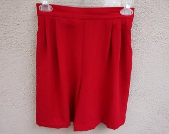 Vintage Bright Red Shorts, High Waisted Shorts, Grandma Shorts, Loose Red Shorts, Mom Shorts