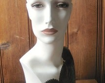 Female Mannequin Head - Vintage Base Artist Updated Bust - Coleus Leaf Druid Clothed Millinery Prop - Hat Wig Pierced Earrings Display Head
