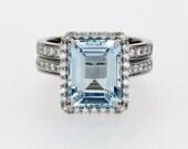 Emerald cut Aquamarine halo engagement ring set, white gold, diamond engagement, light blue, custom, wedding ring set, aquamarine halo