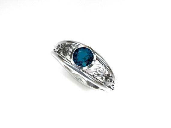 0 50ct Teal diamond engagement ring filigree by TorkkeliJewellery