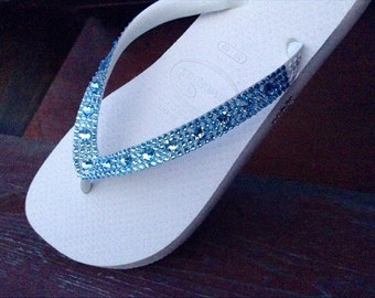 Custom Crystal Flip Flops w/ Swarovski Aquamarine Blue Moon Rhinestone Jewel Beach Wedding Bling Full Moon Havaianas Cariris Bride Shoes
