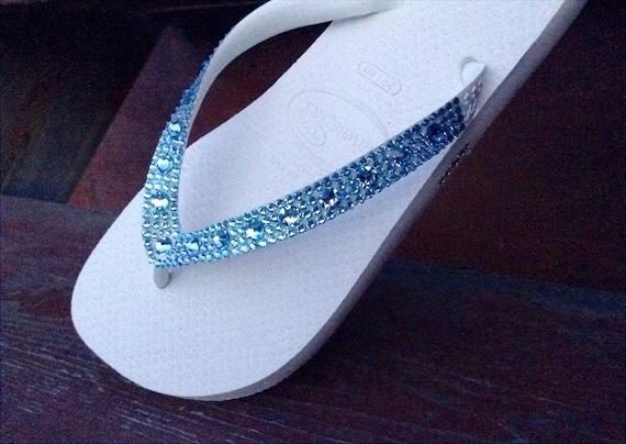 Custom Crystal Flip Flops w/ Swarovski Aquamarine Blue Moon Rhinestone Jewel Beach Wedding Bling Full Moon Havaianas Cariris Bride Shoes