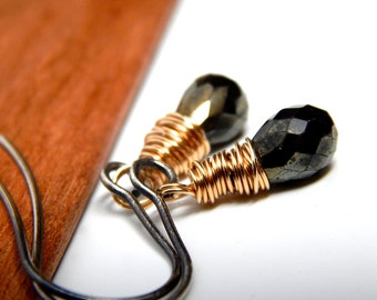 Metallic gold jewelry, black gemstone jewelry, gold spinel jewelry, black spinel earrings gold