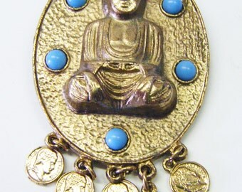 Large Gold Tone Buddha Brooch With Turquoise and Gold Coin Embellishments Vintage