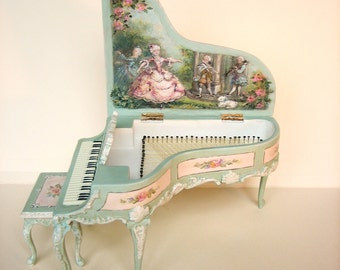 French Hand-painted Grand Piano and Stool- 1:12 -  Ballet Music Pastoral Scene -  Painted seafoam and roses - Jill Dianne Miniatures