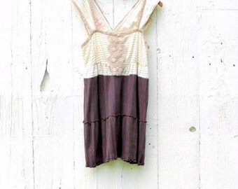 Free People Tunic Top - Upcycled clothing for women size large clothes boho clothing - tunic dress - upcycled recycled repurposed unique