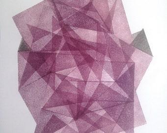 SALE 30 % MIDNIGHT Stone II. original linocut monotype print by Paulina R. Vårregn, one of the kind wall decor