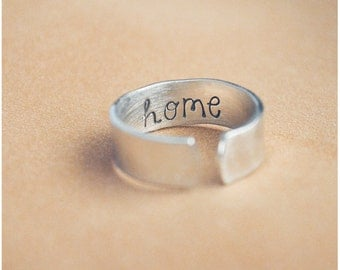 Hand Stamped Secret Message Ring - Aluminum Adjustable Stamped Ring - Secret Message Jewelry - Hammered Ring