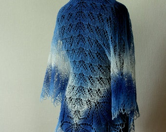 Knit wool shawl - blue-white handknit lace shawl