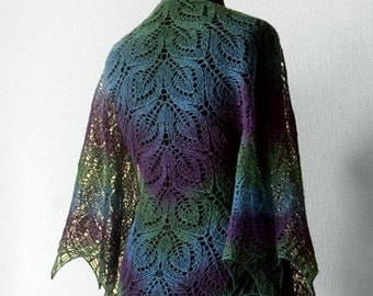 Hand knit  lace shawl - purple, green, blue