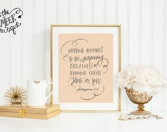 INSTANT DOWNLOAD, Scripture Art, Handwritten, Philippians 3:8, Printable, No. 603