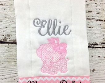 Personalized Baby Girls Pink & Gray Elephant Burp Cloth