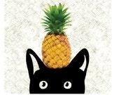 Cat Art Print Pineapple Print Black Cat Digital Illustration Modern Nursery Pineapple Decor / 8x10inches