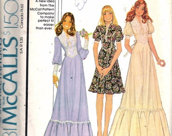 "Vintage 1974 McCall's 4381 Dress In Three Versions Sewing Pattern Size 8 -10 -12 Bust 31 1/2"" - 32 1/2"" -34"" UNCUT"
