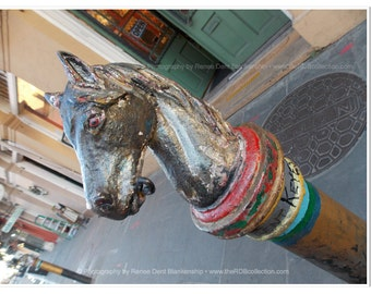 Horse Hitch Post Photo - New Orleans Photography - French Quarter Photo - Horse Head Ironwork Print