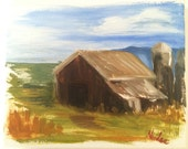 Rustic Landscape Art Nicole Smith Artist Barn Country oil painting 8x10 Impressionism original