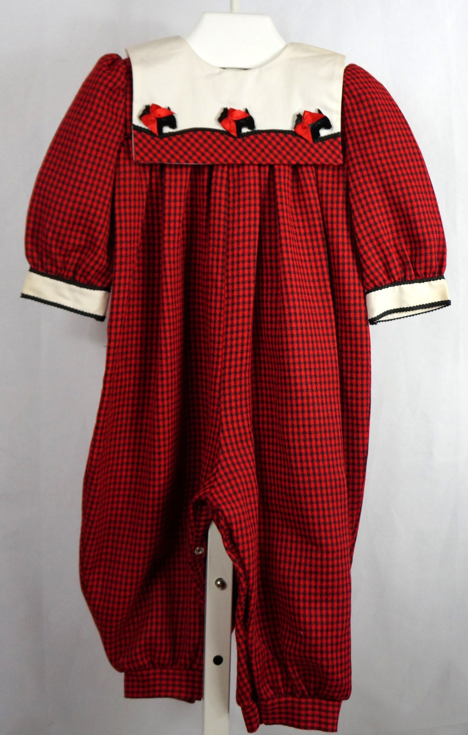Vintage Red and Black Plaid Pants Romper with Scotty Dogs
