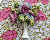 Tea Towel: Screenprint Flour Sack Cotton Tea Towel, Pink Leaf Green, Botanical Hand Printed Textile Fabric Art