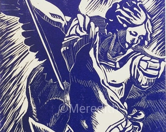 St. Michael Angel - Blue Linocut Original Hand-Pulled Relief Print - 11.5 x 15""