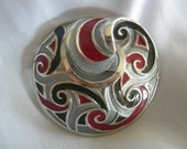 Large Enameled Brooch | Silver Tone with Red Black and Grey Enamel | Vintage