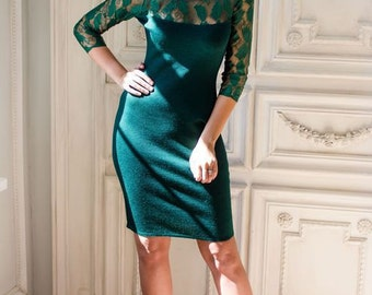 """Stylish knit dress """"Cat's-eye"""" rich emerald green with guipure top"""