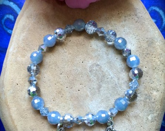 HEAVENLY Pug Rescue Bracelet-Ethereal-Angel Wing-Bliss-Pug or Paw Charm-Periwinkle Aurora Borealis-In Memory-Enchantment-Sky Blue-Fairies
