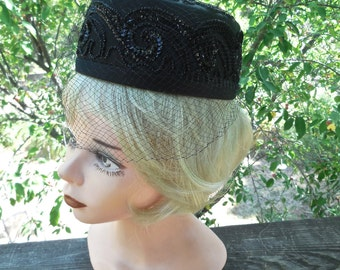 Vintage 50s Pill Box Hat in Black Satin with Black Sequin and Black Glass Faceted Beads