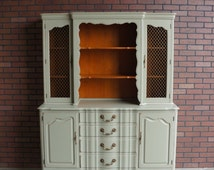 Custom Order Country French Hutch Painted In Our Signature Jardin Green With Timeworn Finish / China Hutch ~ SOLD