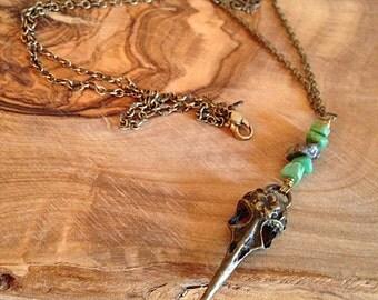 Golden Raven Skull Steampunk Necklace Gothic Boho Turquoise Stone Chips