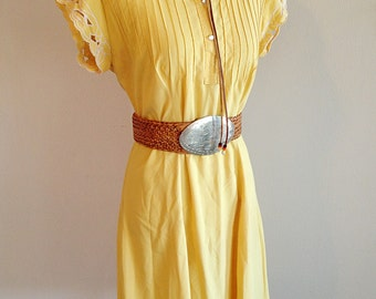 Southwest Style Sunny Vintage Yellow Dress Ladies Size Medium
