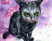 Why So Serious: Fine Art Watercolour Black Cat Joker Print