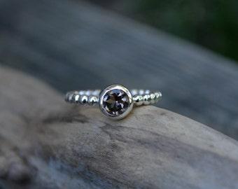 Smokey Quartz Ring, Faceted Smokey Quartz Ring, Sterling Silver, Smokey Quartz