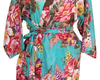 Mint Green Bridesmaids Robe Kimono Crossover Robe Bridesmaids gifts Getting ready robes Bridal Party Robes Floral Robes Dressing Gown