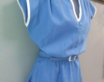 Vintage 1970's Sporty Blue Dress Mod Summer Fresh Linen