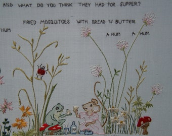 Hand Embroidery pattern PART 3 frog mouse verse children nursery scene PART 3
