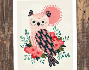 Owl and Blossoms Art Print - INSTANT DOWNLOAD