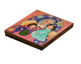 "Folk Art  Painting, ""Grandma we love you"", Print on Wood, Mixed Media, Wall Decore by Evona"