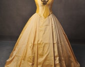Once Upon A Time Belle Inspired Golden Gown Dress Cosplay Costume