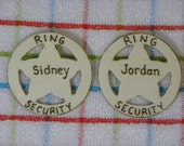 Ring Security Badge for Rustic Weddings Ring Bearer Gift Usher Personalized Pin