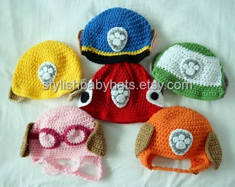 3x PAW Patrol Hats, Crochet Baby Hat, Dog Hat, photo prop, Inspired by Marshall Rubble Chase Rocky Zuma Skye from PAW Patrol